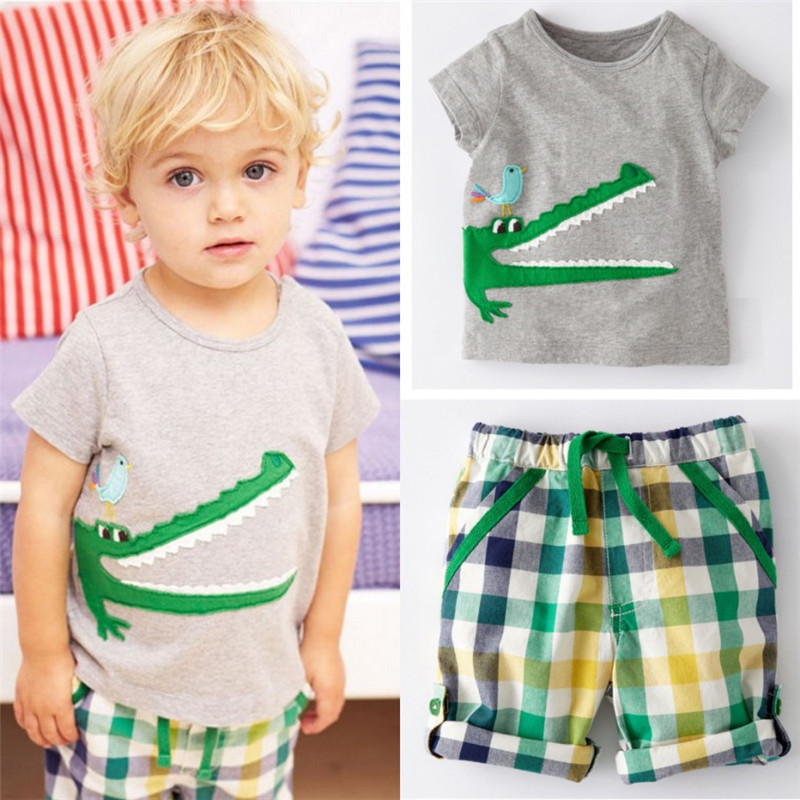 Cartoon Crocodile Print Baby Kids Boys Clothes Set 2016 New Arrival Fashion Hot Sale T-shirt and Striped Pants Summer Wear(China (Mainland))