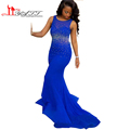 African Gorgeous 2016 New Evening Prom Dresses Royal Blue Sexy Mermaid Long Backless Beads Wasit Part
