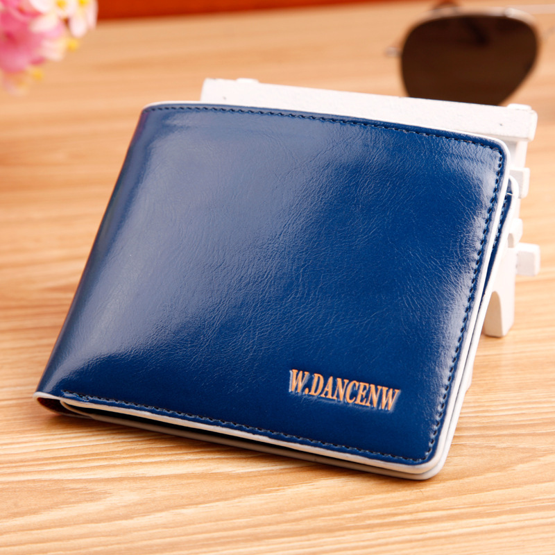 2015 famous brand men genuine leather short Wallet Oil wax cow leather thin purse carteira masculina