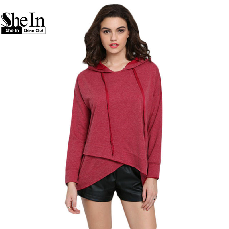 SheIn Tops 2016 Ladies Plain Asymmetrical Hem Pullovers Round Neck Casual Plain Rose Red Hooded Long Sleeve Sweatshirt(China (Mainland))