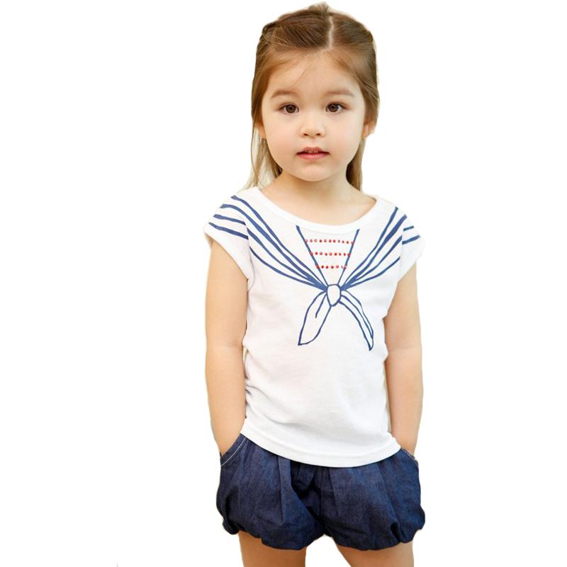 Brand childrens clothing sailor style tshirt blue shorts set for kids girls casual clothes roupas infantis menina child garment(China (Mainland))