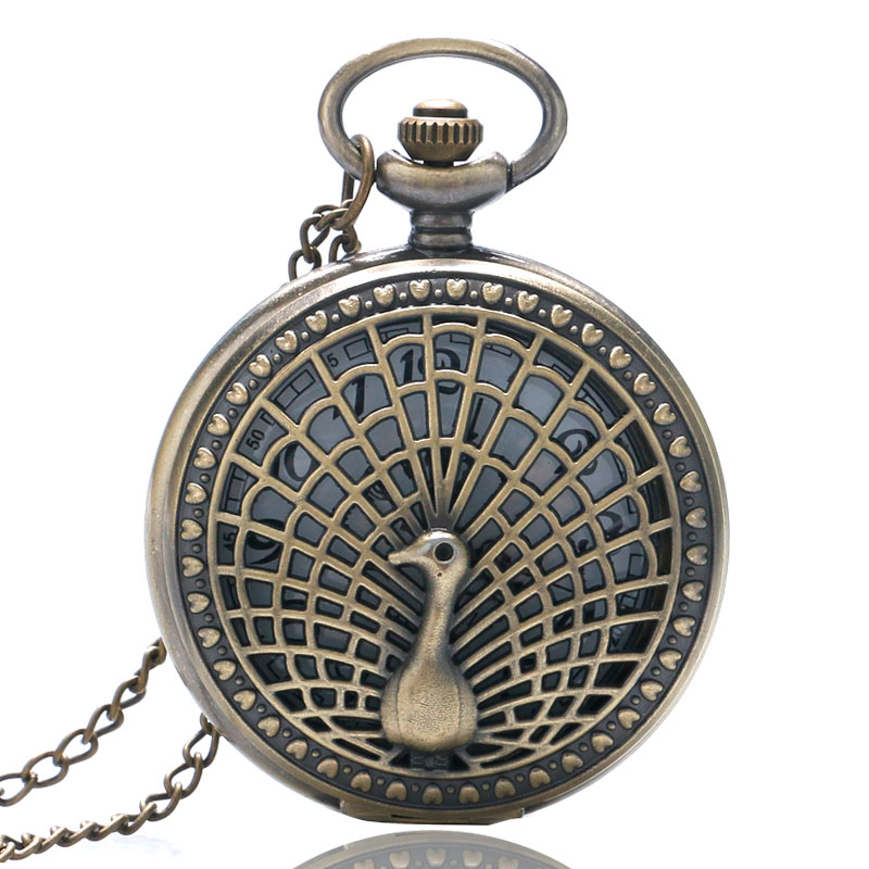 Fashion Hollow Bronze Peacock Design Bronze Case Quartz Fob Pocket Watches with Necklace Chain for Girls Women Ladies Gift(China (Mainland))