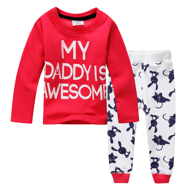 Girls nightwear, MY DADDY AWESOME,kids pajamas with velvet thickening,child clothes sets,next* clothing style snuggle pyjamas(China (Mainland))