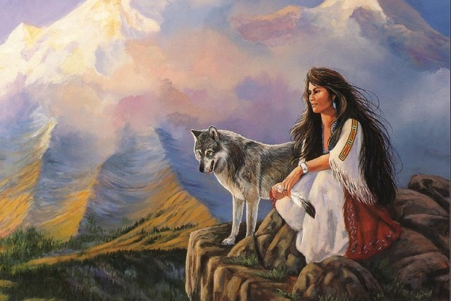 Wolf And A Girl Wild Animal Art Silk Canvas Oil Painting