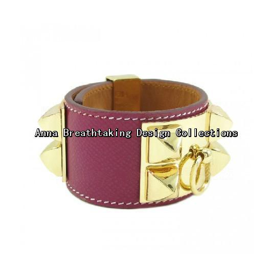 Distinctive Designer Purple Calfskin Leather Rivets Cuff Bracelet,Junoesque Purple Color Leather Wristband with 18K Gold Rivets(China (Mainland))