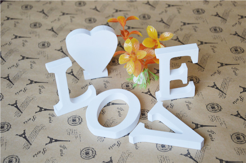 Free Standing 12cm height Home Decor Wedding Decoration Artificial Wood Wooden White Letters Alphabet low price wholesale(China (Mainland))