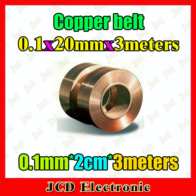 Copper strip 0.1mm thickness copper foil 20mm wide Copper belt 3meters length Copper Tape 0.1mm*2cm*3 meters(China (Mainland))