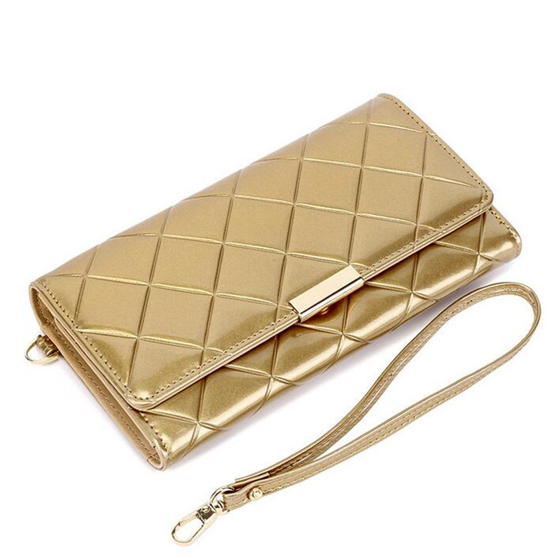 New Women Wallets Patent Leather Clutch Bag Long font b Plaid b font Female Coin Pocket