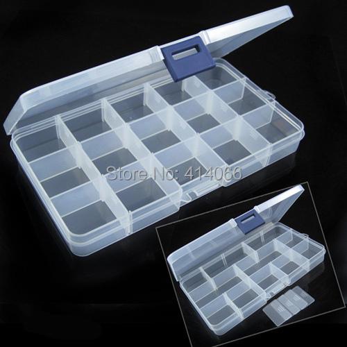 Free Shipping Plastic 15 Slots Jewelry Adjustable Tool Box Case Craft Organizer Storage Beads(China (Mainland))