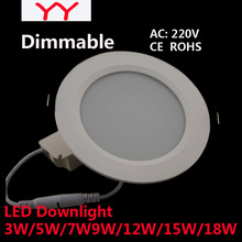 4PCS Dimmable Led Downlights 3W 5W7W 9W12W15W18W 220V LED Ceiling Downlight 5730 Lamps  Home Indoor Lighting Free shipping(China (Mainland))