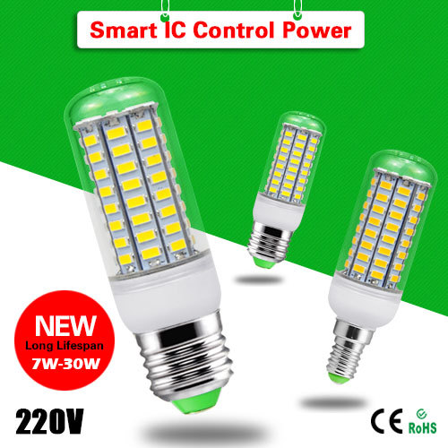 1x SMART IC Chip Control Power longer Life Span 7W 12W 15W 18W 20W 25W 28W 30W E27 E14 LED lamp SMD5730 220V LED Corn Bulb light(China (Mainland))