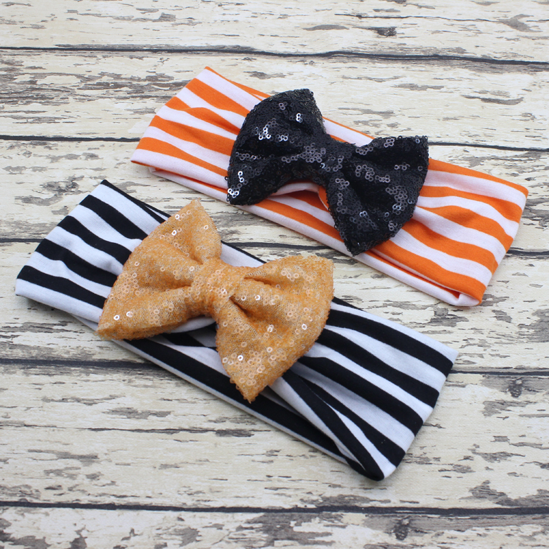 New Baby Halloween Headband for Girl Hair Accessories Baby Halloween Turban Headband Big Bow Headwrap 5pcs/lot(China (Mainland))