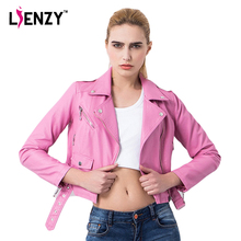 LIENZY Spring Pink Crop Motorcycle Jacket Lapel Oblique Zipper Punk Style Bandage Women PU Leather Jacket Coat Fashion Crop Tops