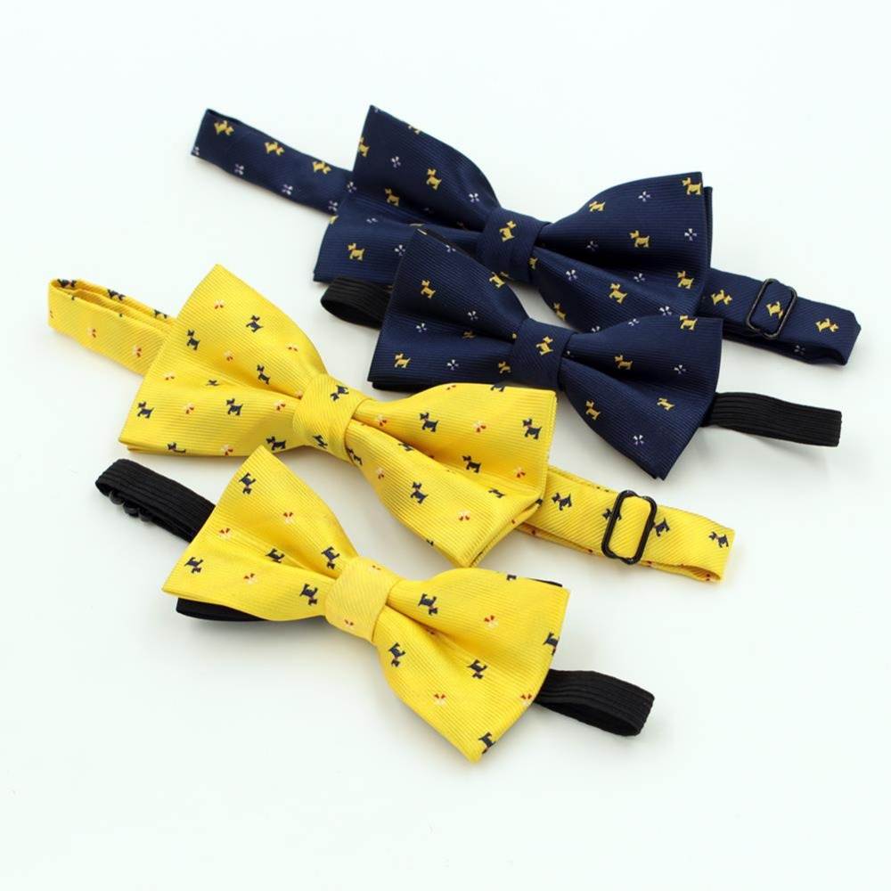 2016 NEW Best Selling Cartoon Bow tie For Men Kid Fashion Lovely Dog Pattern Wedding Party Yellow blue Bowtie Children Cravat(China (Mainland))