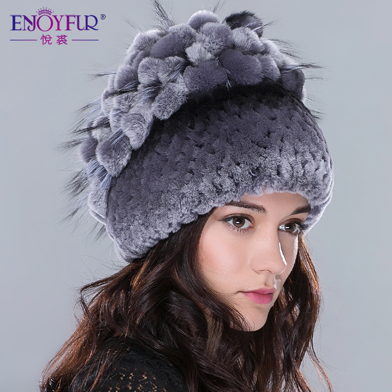 Winter Real fur hat for women rex rabbit fur hat with fox fur flowers stripe knitted beanies 2015 new Russia high quality hat(China (Mainland))