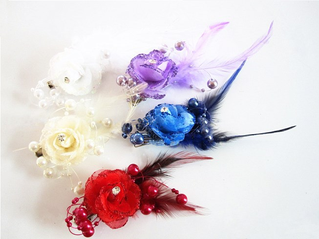 1PCS Headband DIY Headwear Multi Colors Feather Flower Hair Clip For Corsage Wedding Accessories Free shipping(China (Mainland))
