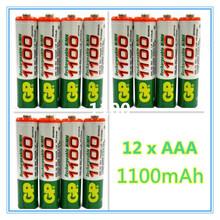 Free ship!! Hot Sale 12pcs High Power AAA 1100MAH/1.2V GP Rechargeable NiMH Battery 1100 mAh New Batteries