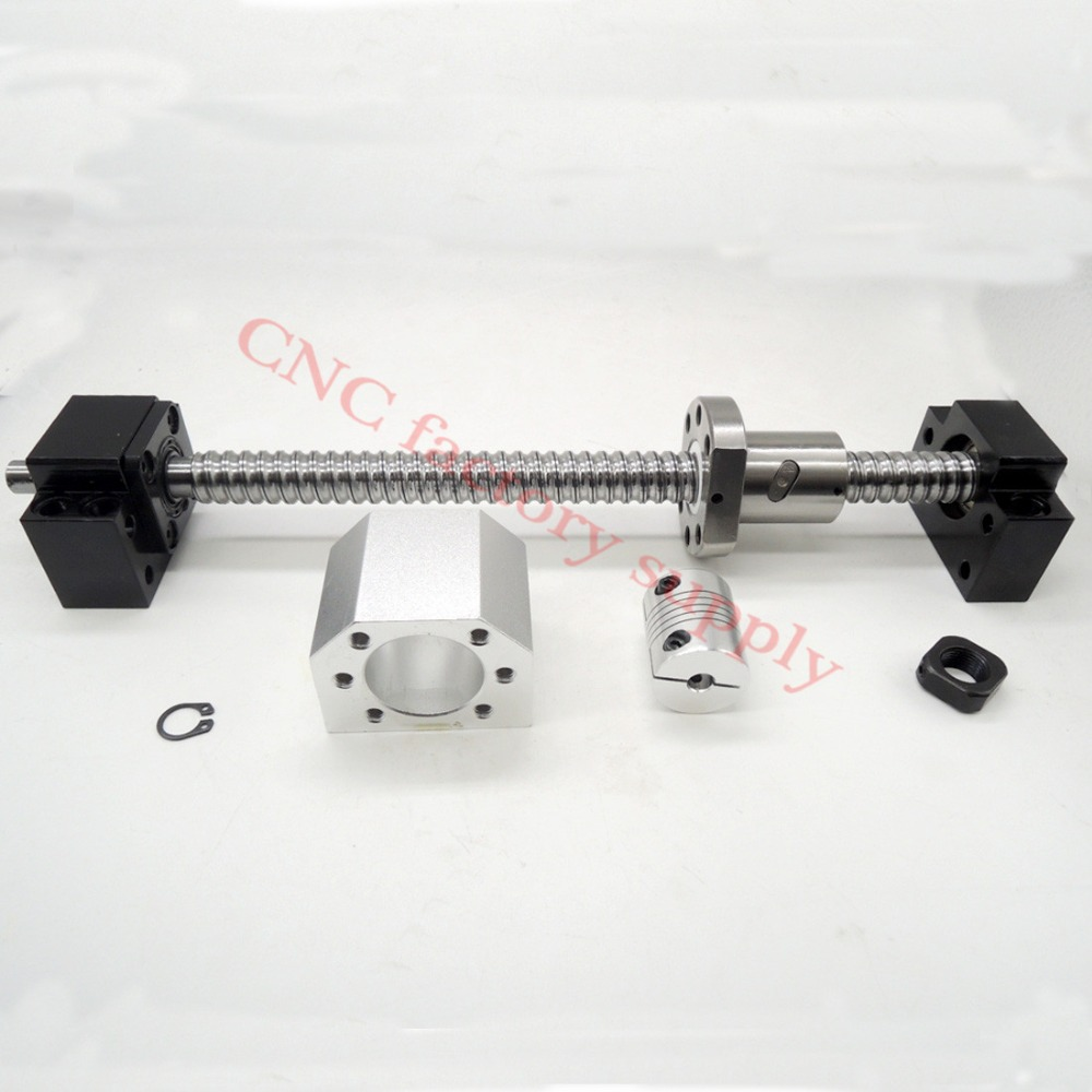 SFU1605 set:SFU1605 L500mm rolled ball screw C7 end machined + 1605 nut housing BK/BF12 support coupler  -  CNC best store store