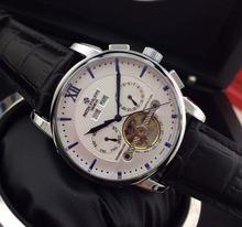 Tourbillon mecánico de lujo de cuero de la marca de PP movimiento automático del reloj para hombre auto viento relojes de pulsera
