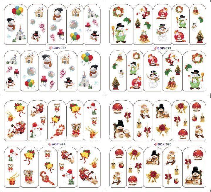 water sticker nail sticker Christmas style nail sticker 8pcs/lot(China (Mainland))
