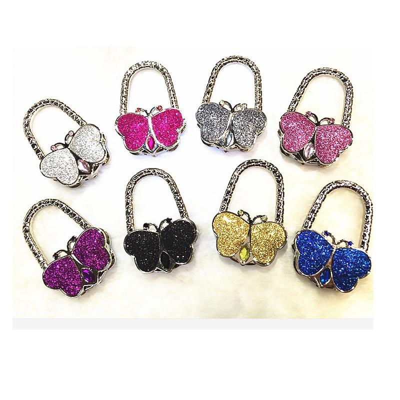 Butterfly bag hook butterfly handbag hook Folding fodable Handbag/Purse/Bag Hanger Table Hook Hang Holder gift wholesale 10pcs(China (Mainland))