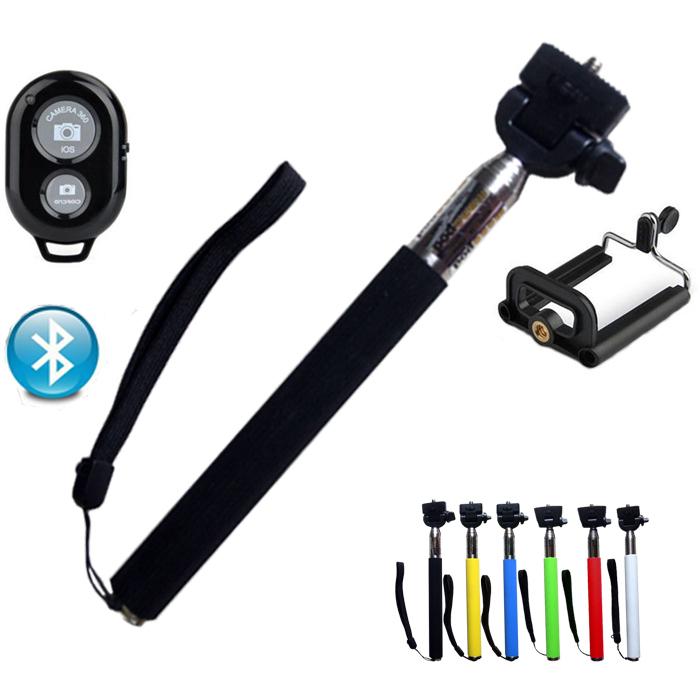 Extendable Handheld Bluetooth Mobile Phone Monopod Camera Tripod Phone Holder Self Selfie Stick for iPhone Samsung NoBattery(China (Mainland))