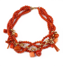 New 2014 Luxury Italian Design High Quality Fashion Accessories  Handmade Coral Red Bead Vintage Bead Necklace Women Gift(China (Mainland))