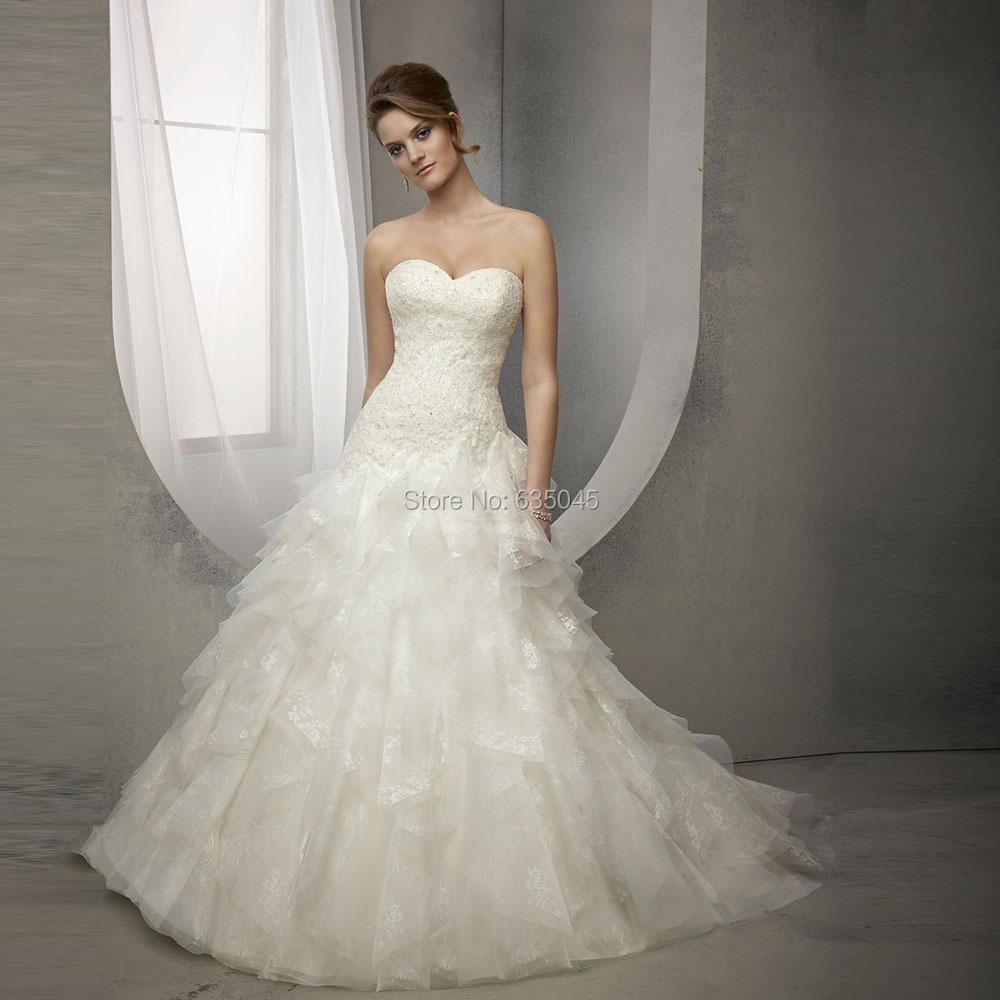 Robe de Mariage Линии Свадебные Платья Ruffle Юбка Милая Кнопка Back Свадебные Платья свадебные платья Novia