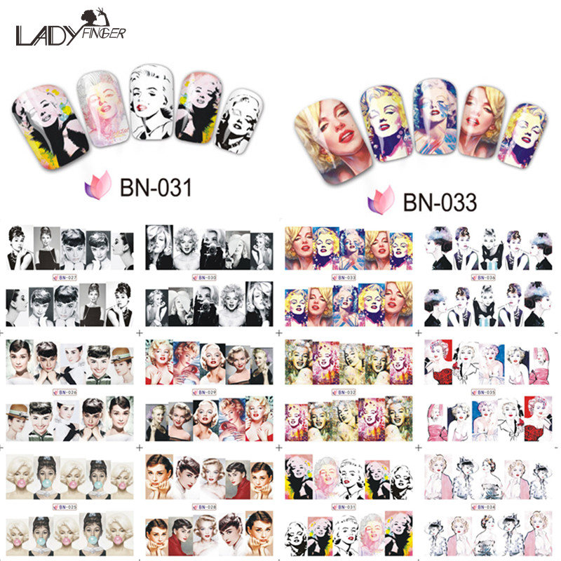 Lady Finger 1pcs Marilyn Monroe & Audrey Hepburn With Full Cover Nail Sticker Water Decals Decorations For Nails BN025-036(China (Mainland))