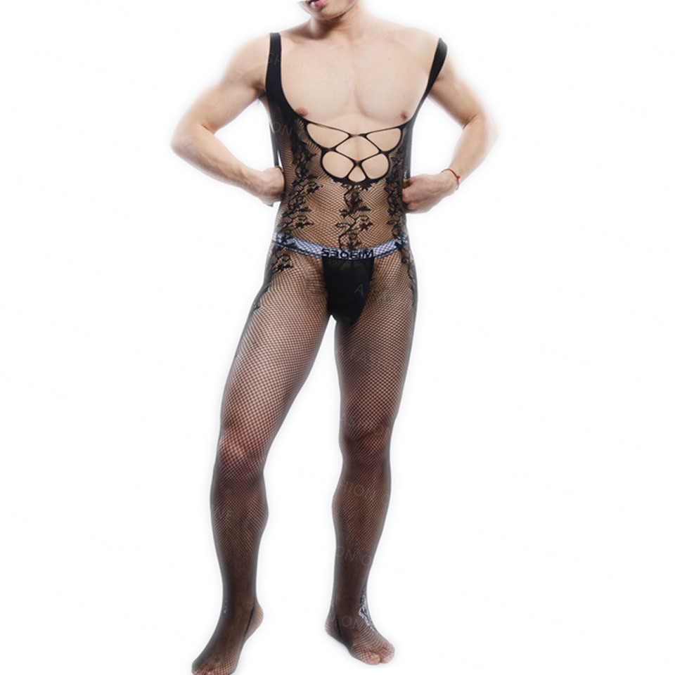 NEW!Sexy Men's Underear Model Photo Shoot Body stockings Men Open-Crotch Stockings BodyStocking Mens Pantyhose for Sale