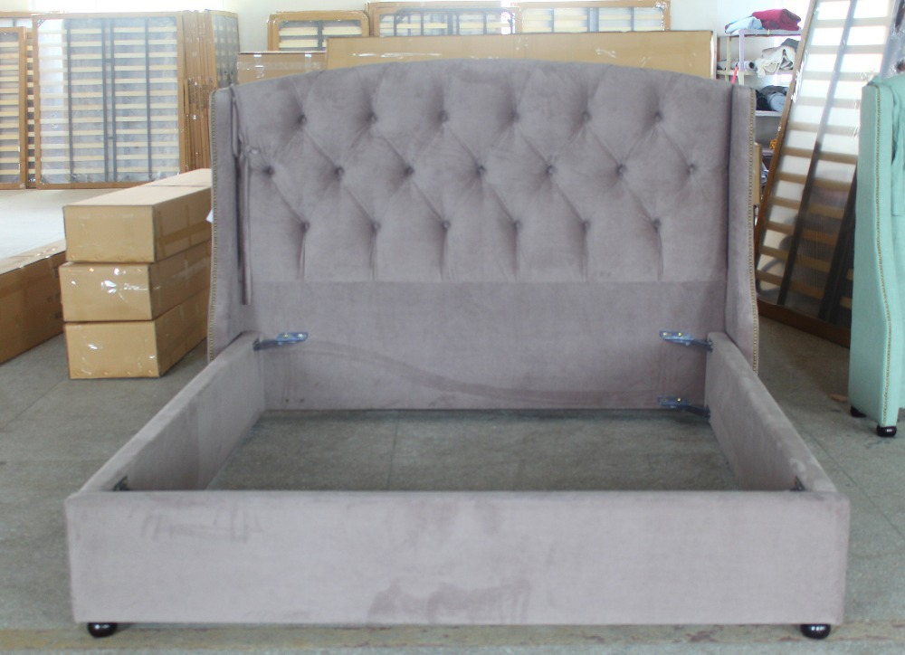 The latest king/queen size bed furniture of fabric curtilage for home design(China (Mainland))