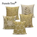 Decorative throw pillows cover Modern simple pillow Popper geometry plant noble gold trees leaf cotton linen