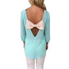 Спинки бантом мода шифон женщины блузка 2015 летний стиль Feminina блузка топ рубашки