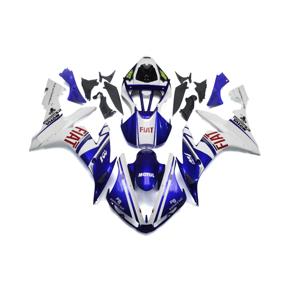 Plastics For Yamaha R1 04 05 06 YZF1000 2004 2005 2006 Injection ABS Motorcycle Fairing Kits Cowling FIAT Doctor 46 White Blue(China (Mainland))