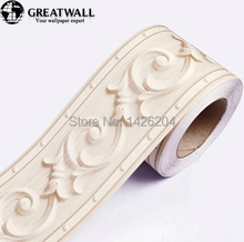 Great wall 3d PVC self-adhesive wallpaper  0.108m*5m wall listello bedroom stickers waist line waterproof border crural line(China (Mainland))