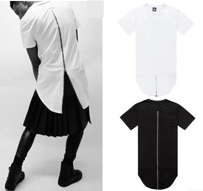 Hip Hop Men t shirt tyga Cool Oversized Side Zipper Extended T-shirt hba jay-z Casual Red Plaid Leather Short sleeve Tee XXXL(China (Mainland))