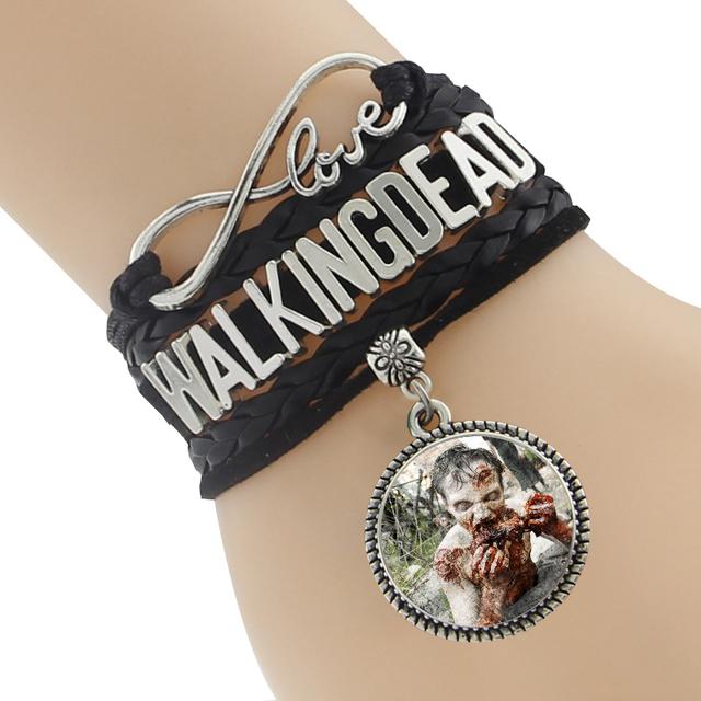 The Walking Dead Bracelet – Multi-Color Leather Braided Velvet Bracelet With Pendant Charm