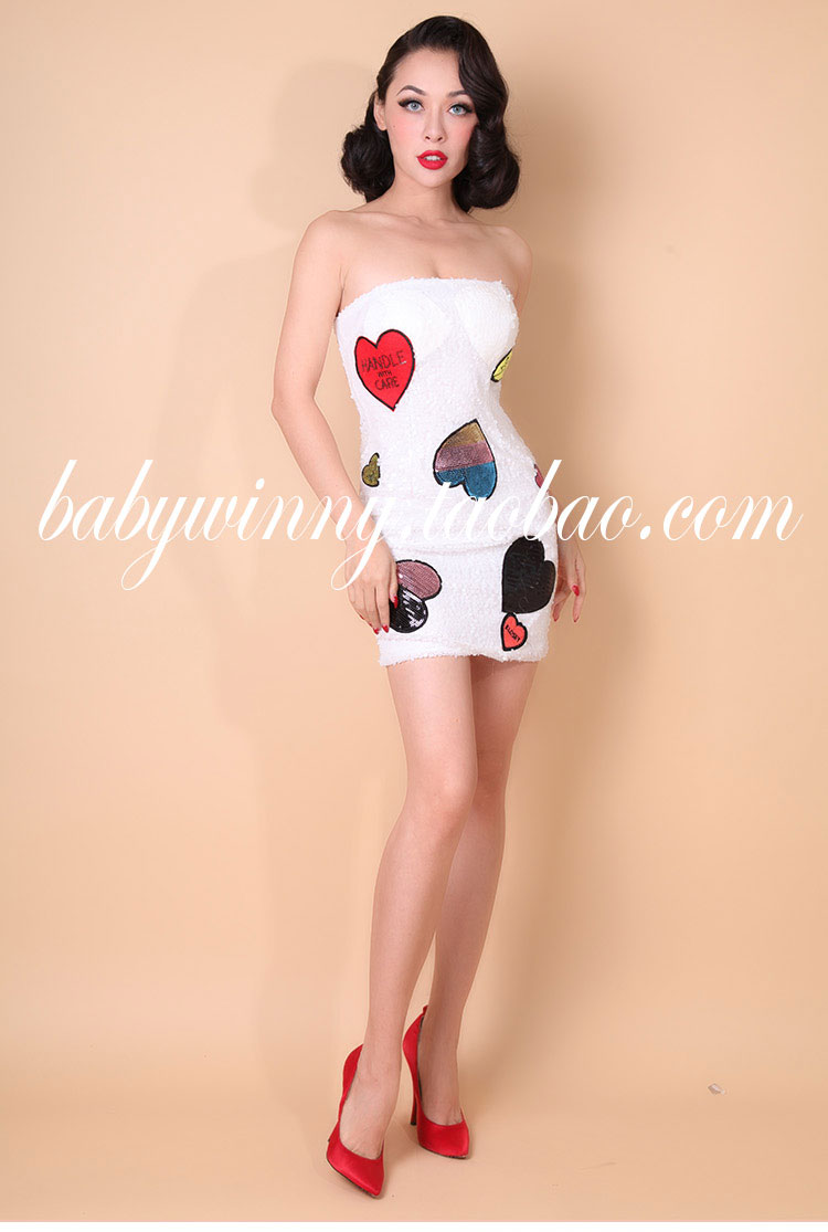 New High Quality Bandage Sequin Dress Women Fashion Heart Pattern Party White Dresses Novelty Strapless Sexy Mini Vestidos 0.5