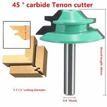 De Calidad superior 1 UNID Lateral De Bloqueo de 45 Grados Router Bit 1-1/2 «diámetro 1/4» con mango de Madera del Cortador de Madera de Perforación de Trabajo Precio Al Por Mayor