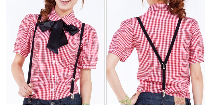 Summer women's 2012 thin bow shirt short-sleeve plaid puff sleeve plus size - bingwen chen's store