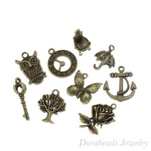 50 Mixed Bronze Tone Charms Pendants 18x17mm - 27x9mm (B13850), yiwu(China (Mainland))