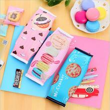 Buy Korean Creative Macaron Cracker School Pencil Case Cute Pu Leather Pen Bag Kawaii Stationery Pouch Office School Supplies Zakka for $1.21 in AliExpress store