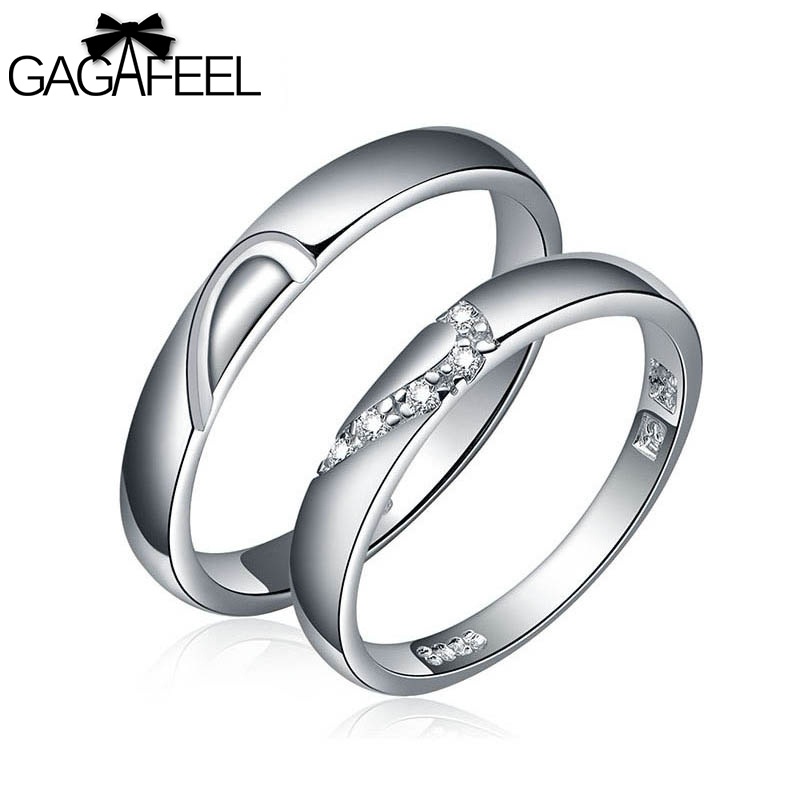 GAGAFEEL Wedding Jewelry real 925 sterling silver gem crystal zircon couple lovers rings China Gold Brand Fine men women - Gagafeel Factory Co., Ltd store