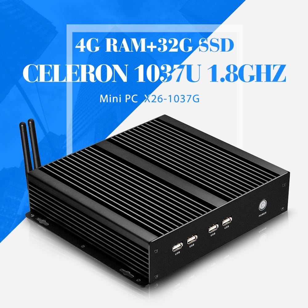 mini desktop pc C1037U 4g ram 32g ssd with wifi mini computer thin client embedded pc computer 8*USB 4*RS-232(China (Mainland))