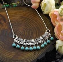 Fashion classic Bohemia style Tibetan Silver Necklace Turquoise sweater chain of Pinus koraiensis folk style free shipping(China (Mainland))