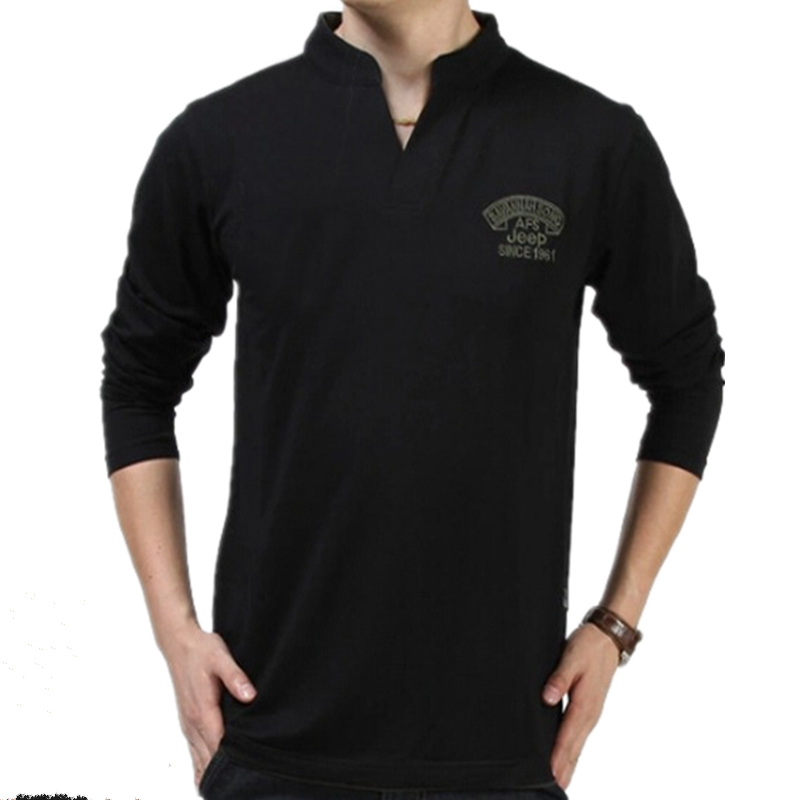 Afs jeep casual solid ralp long sleeve stand collar t for Long sleeve t shirts with collar