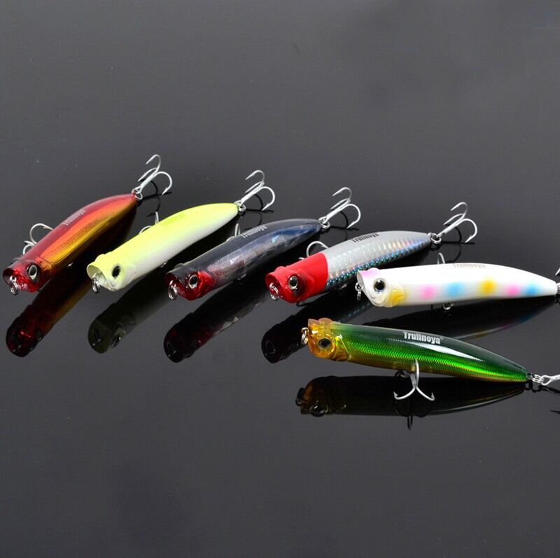 10 Pieces Trulinoya DW17 Poppers 90mm 10g Fishing Hard Lure Set Artificial Plastic Spinner bait(China (Mainland))
