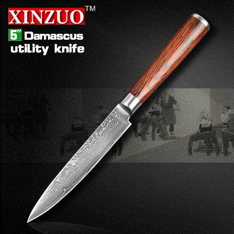 2016 xinzuo new 5 utility knife japanese vg10 damascus kitchen knife paring knife kitchen tool. Black Bedroom Furniture Sets. Home Design Ideas