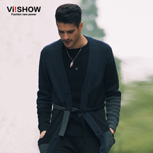 Viishow Fashion Mens Cardigan Sweater Long Sleeve Knitted Cardigan Solid Thin Slim Fit With Belt Decration Pull Homme(China (Mainland))