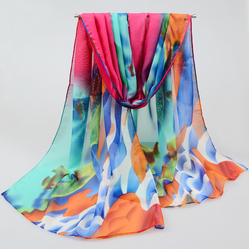 2016 New spring silk scarf women brand printing chiffon scarf shawl Wraps Polyester chiffon scarves for women(China (Mainland))